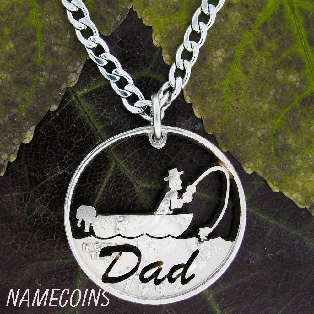 Fishing Necklace For Dad Fathers Gift Fisherman Handmade Coin