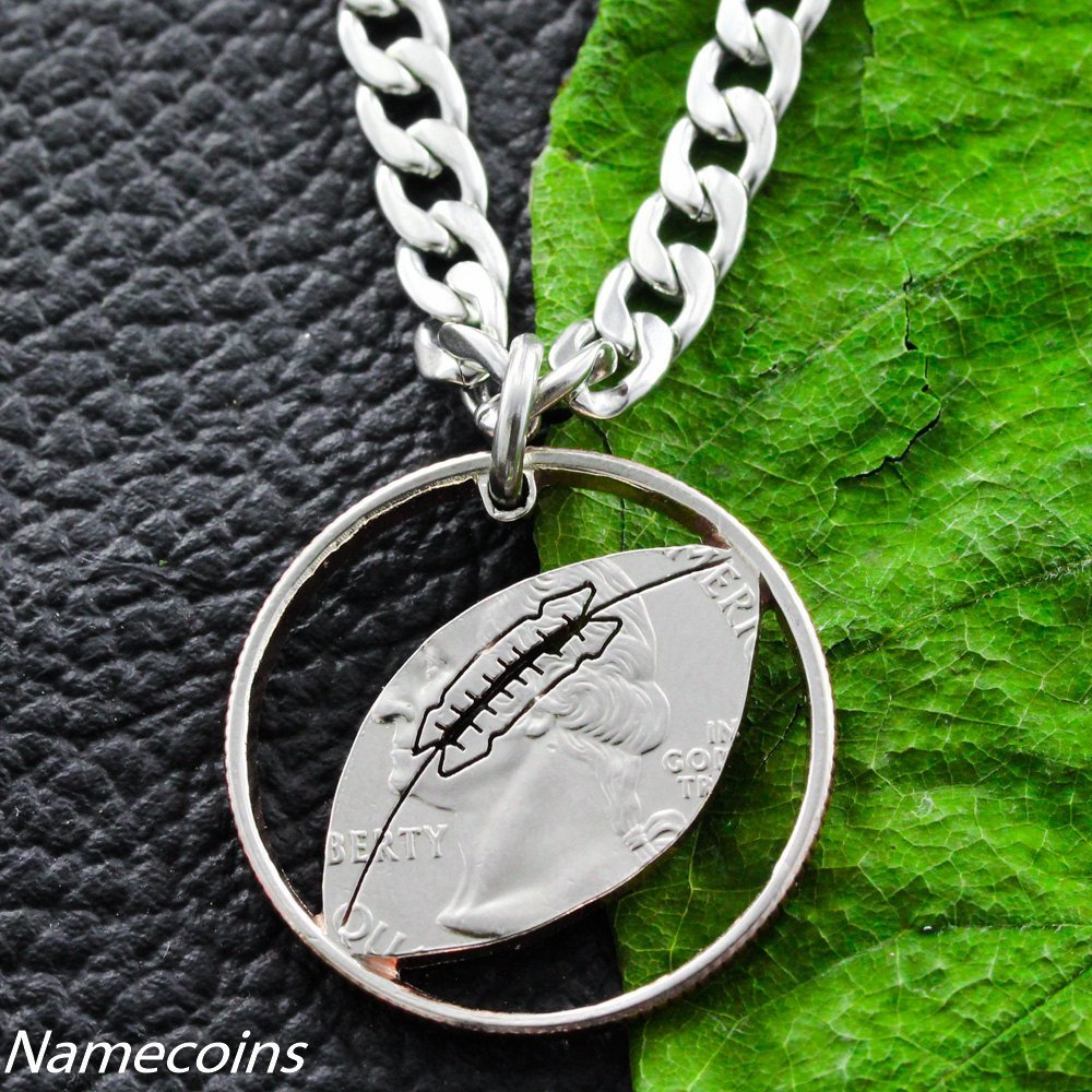 football initial round necklace with personalized charm