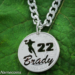 Football Necklace With Your Name And Jersey Number, Quarterback, Hand Cut Quarter