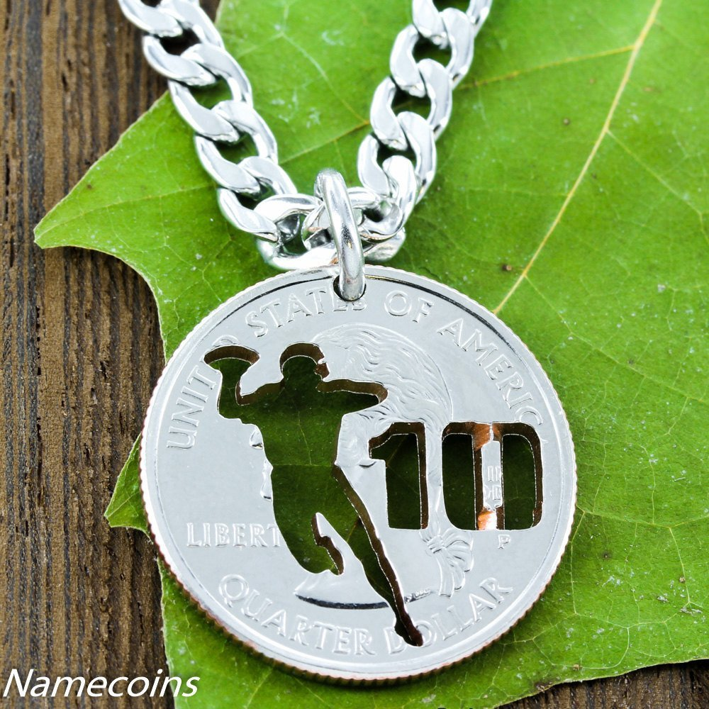Football Player Necklace With Your Jersey Number, Quarterback Custom Sports Jewelry, Hand Cut Quarter