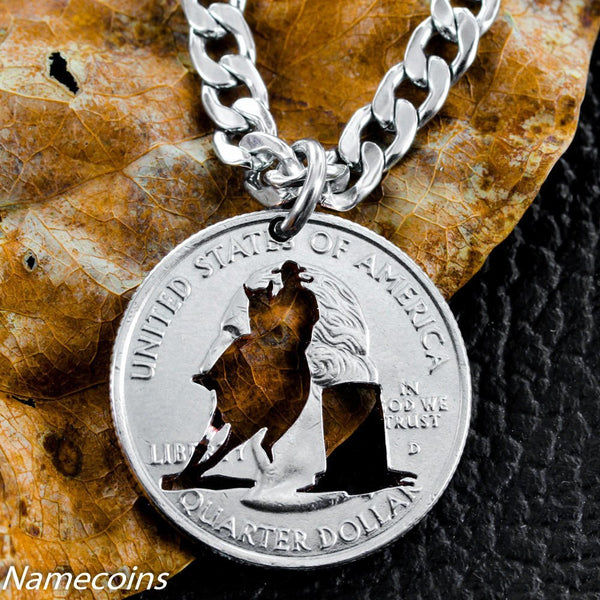Girl Sports - Barrel Racer Necklace, Girls Rodeo, Hand Cut Coin