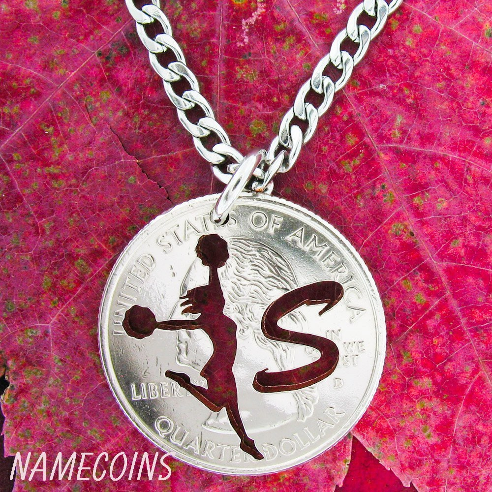 Girl Sports - Cheerleader Necklace Custom Monogram Hand Cut Quarter