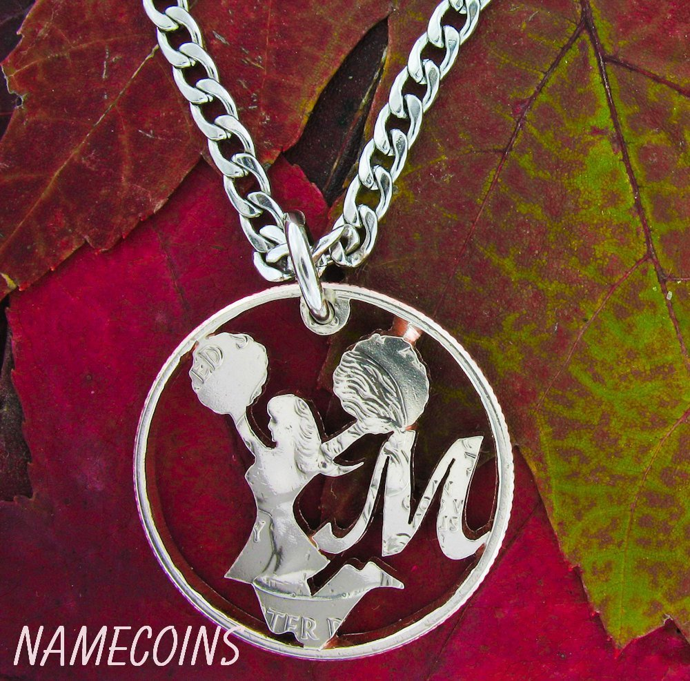 Girl Sports - Cheerleader Necklace, With Custom Initial Monogram Hand Cut Coin