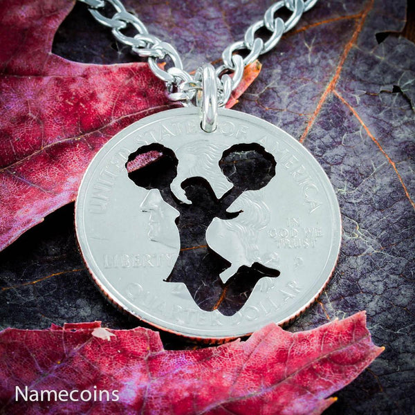Girl Sports - Cheerleading Girl Necklace, Cheer Quarter Jewelry, Hand Cut Coin