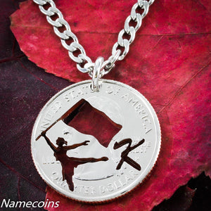 Girl Sports - Color Guard Jewelry With Your Custom Initial, Hand Cut Quarter