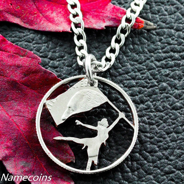 Girl Sports - Color Guard Necklace, Cut Out Quarter, Hand Cut Coin