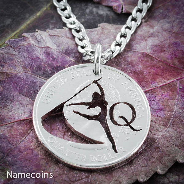Girl Sports - Color Guard Necklace With Your Custom Initial, Hand Cut Quarter