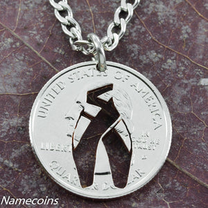 Girl Sports - Dancer Shoe Necklace, Girl Ballet Slipper Jewelry, Hand Cut Coin