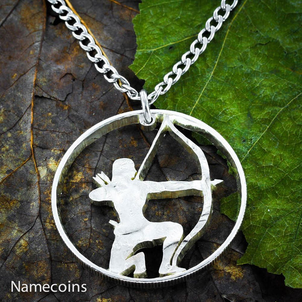 Girl Sports - Girl Hunting Jewelry, Bow And Arrow Necklace, Hand Cut Coin Necklace