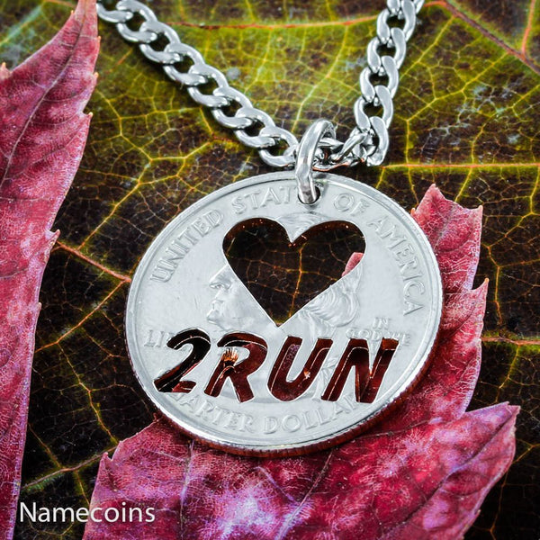 Girl Sports - Love 2 Run Necklace, Runner To The Core Jewelry, Hand Cut Coin