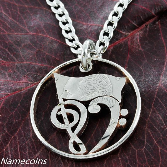 Girl Sports - Love Marching Band Color Guard Flag Music Notes Necklace, Hand Cut Quarter Jewelry