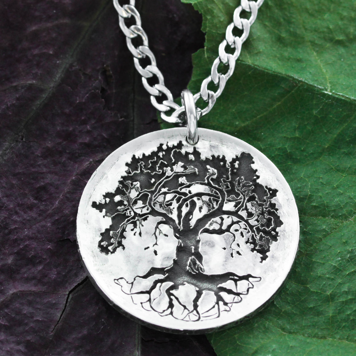 Silver Oak Tree Necklace, Hammered Engraved Coin