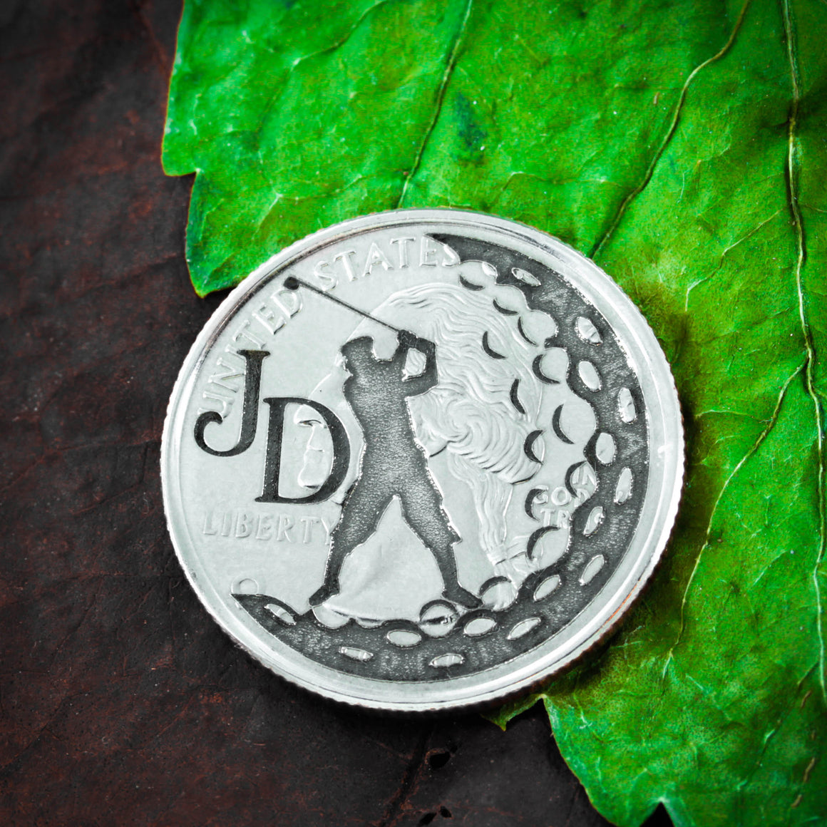 Golf Ball Marker Coin With Initials Engraved, Etched Quarter