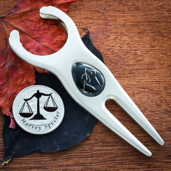 Lawyer Golf Marker, Attorney gift, Scales of Justice with Custom Name