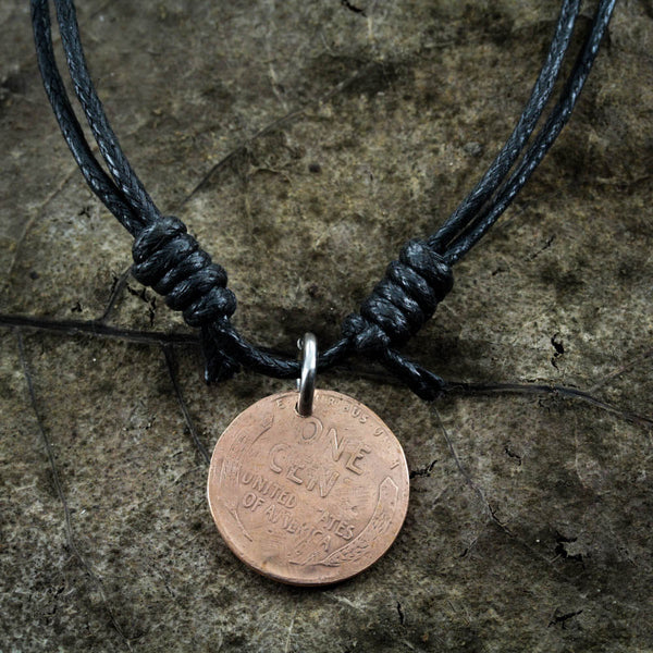 Great Wave Off Kanagawa engraved on copper penny necklace, Adjustable Black Cord