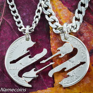 Guitar Necklaces, Band Friendship Jewelry, Musical Hand Cut Coin