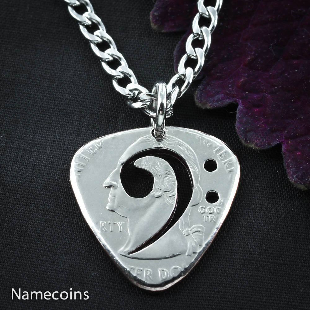 Guitar Picks - Bass Clef, Guitar Pick Necklace, Cut And Burnished From Quarter, Hand Cut Coin