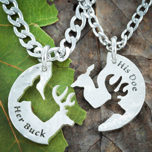 Silver Her Buck and His Doe Necklace, Hammered Silver, Couples Jewelry