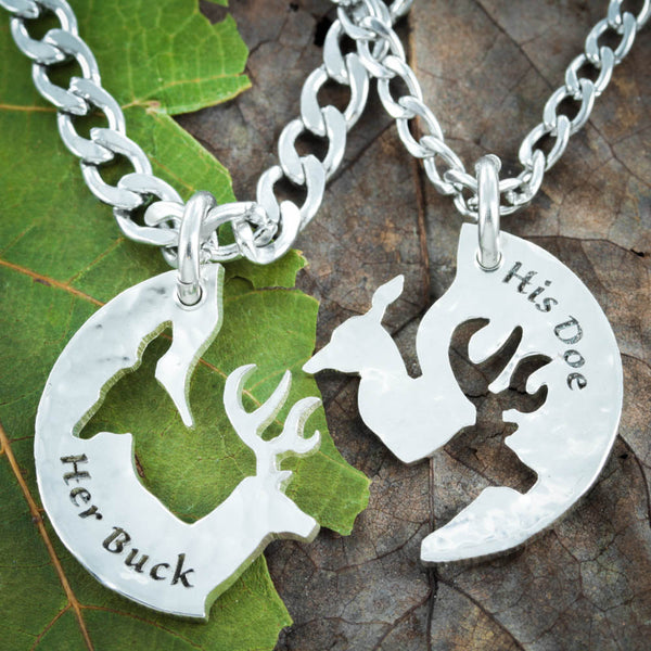 Silver His Buck and Her Doe Necklace, Hammered Silver, Couples Jewelry