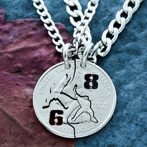 Hockey Best Friend Necklaces with Jersey numbers