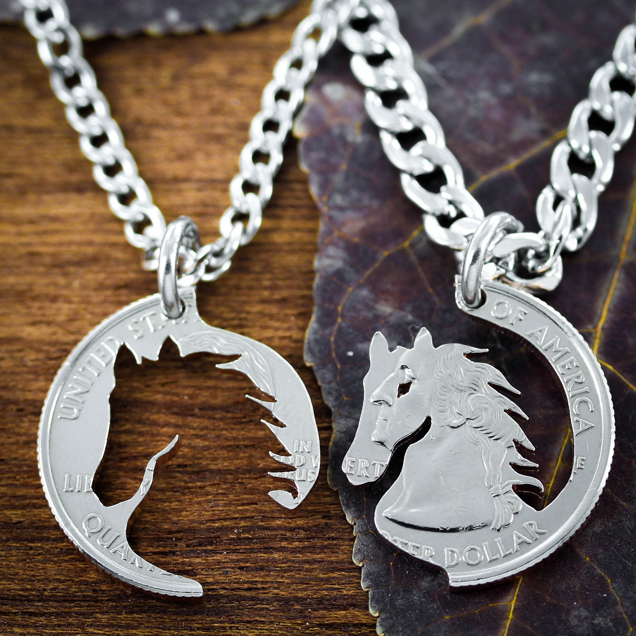 hand jewellery necklaces best lovers products friend horse equestrian cut coin jewelry