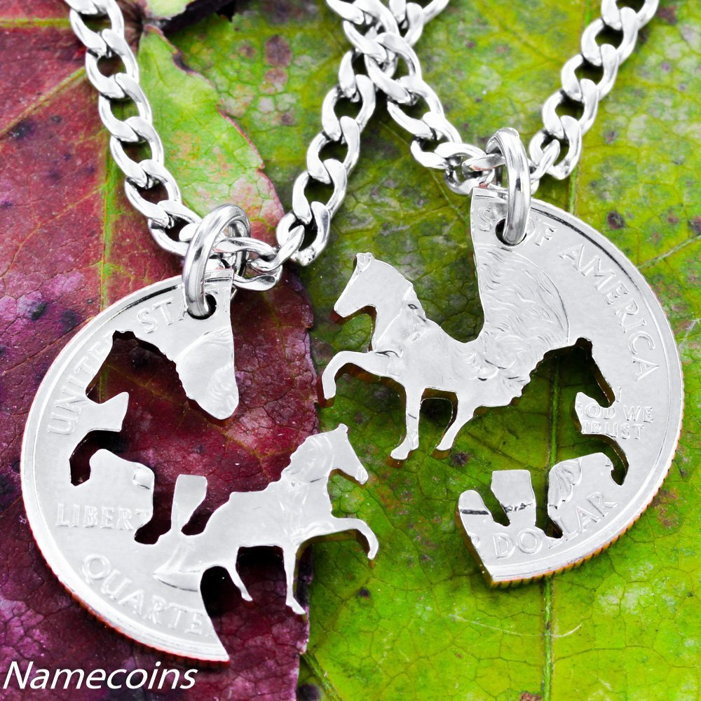 Horse Lovers - Cowgirl Horses Best Friends Necklace Set From A Coin