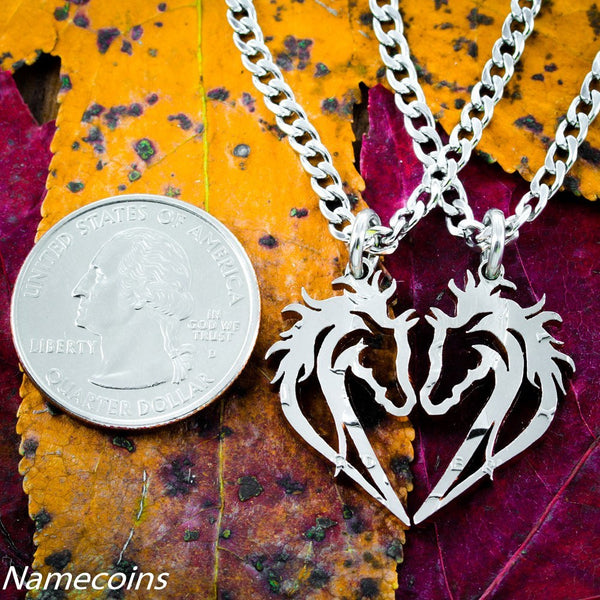 Horse Necklace, Couples Heart Jewelry, Equestrian Set, Hand Cut Half Dollar