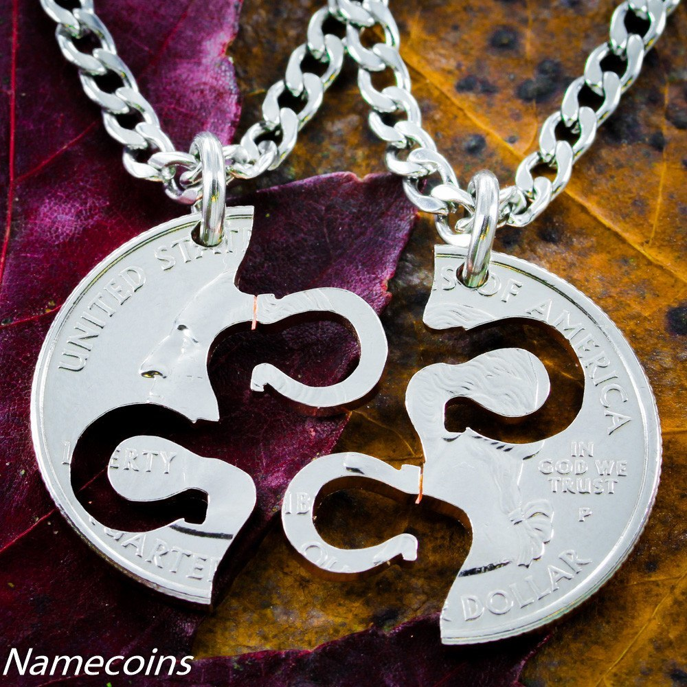 Horseshoe Necklace, Equestrian Jewelry, Friendship Set Hand Cut Coin