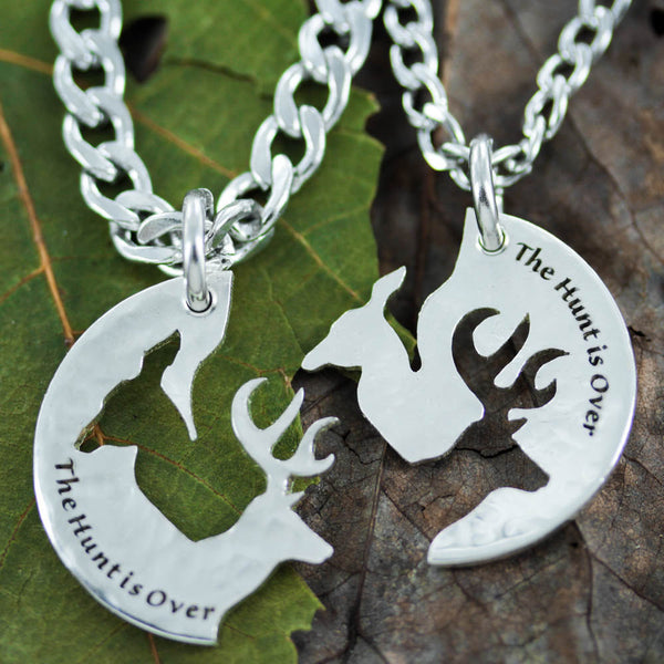 Silver The Hunt it Over Couples Buck and Doe Necklaces, Hammered Silver