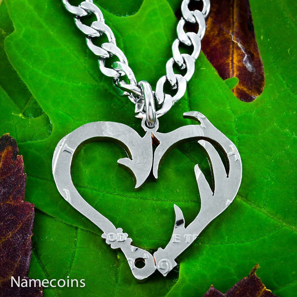 Hunting - Fish Hook And Antler Heart Necklace Set, Hand Cut Coin