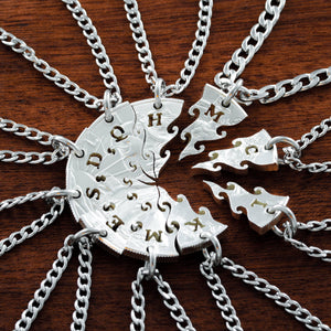10 Puzzle Piece Silver Necklaces, Hand Cut Silver dollar