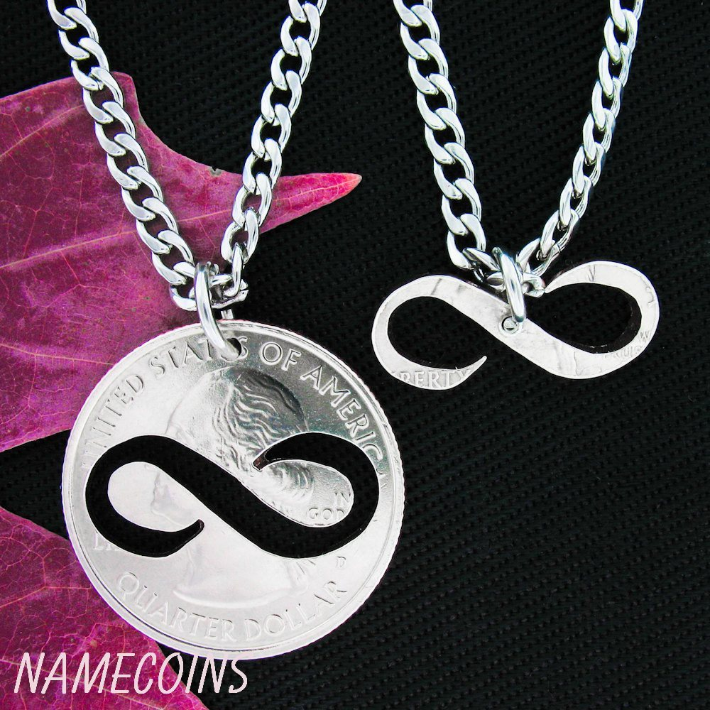 Infinity Necklace Couples Jewelry Special Quarter Hand Cut Coin