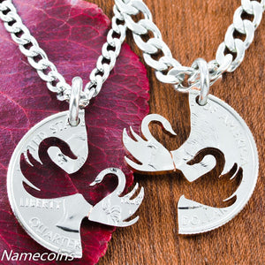 Interlocking Swan Pendants, Couples Necklaces, Hand Cut Coin