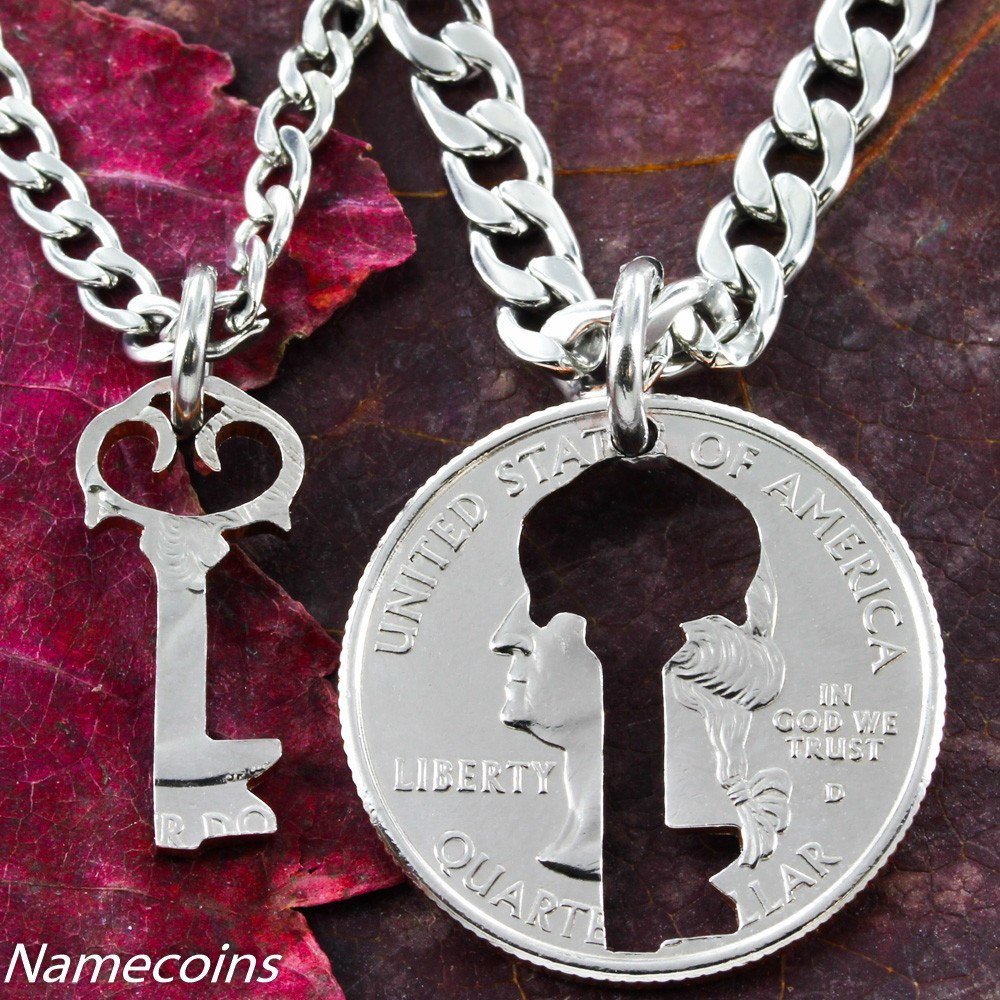 Key necklace, Couples jewelry Quarter, relationship hand cut coin ...