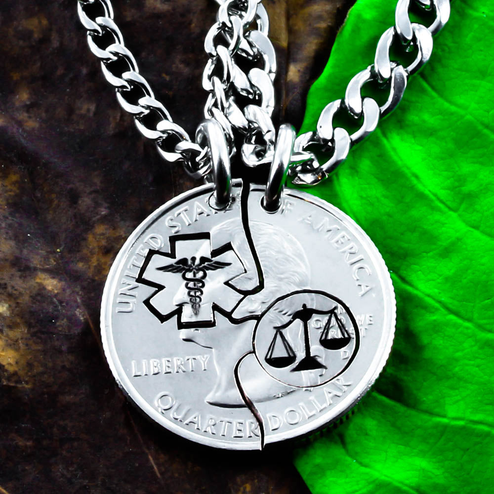 Scales Of Justice And Medical Symbol Necklaces Med Law Student Gift