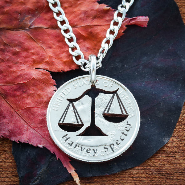Scales Of Justice Necklace, Lawyer Jewelry, Hammered and Engraved Silver Disk or coin