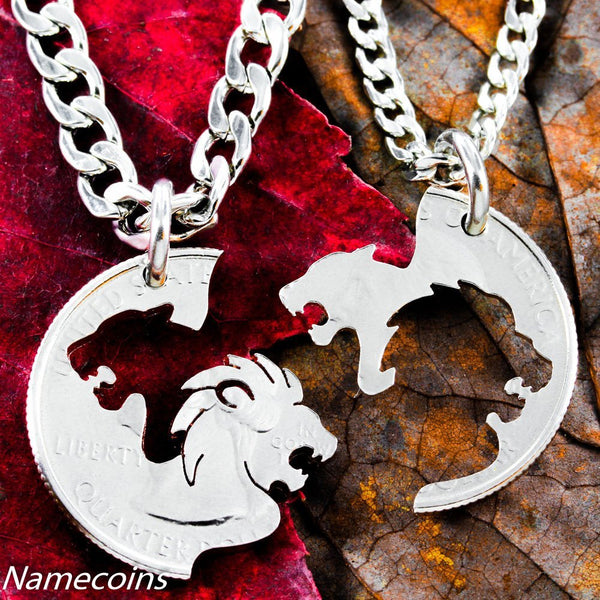Lion Couples - Lion And Lioness Necklace Set
