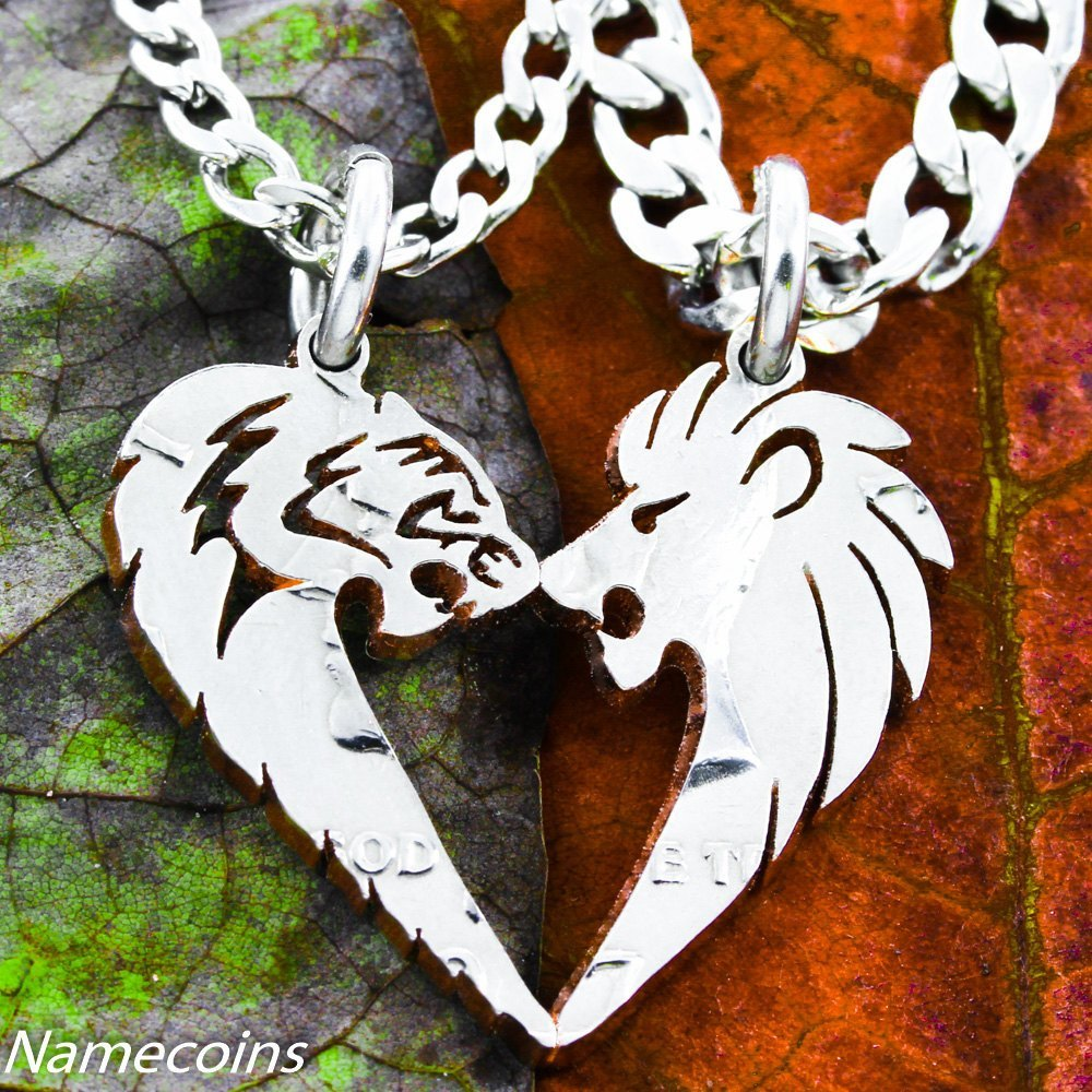 Lion and Tigress His and Hers Couples Coin Necklaces - NameCoins