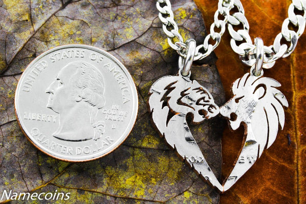 Lion Couples - Lion And Tigress His And Hers Couples Coin Necklaces