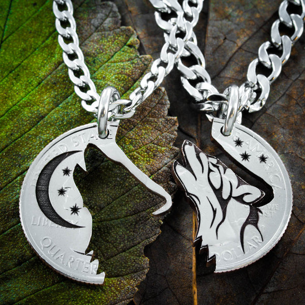 Howling Tribal Wolf with Moon Interlocking necklaces by Namecoins