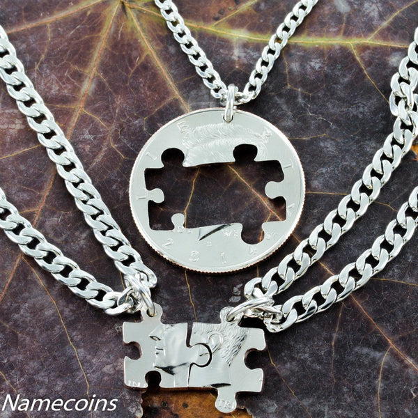 Love Hands Relation Set - 3 Best Friend Or Family Necklace, Coin Puzzle Pieces