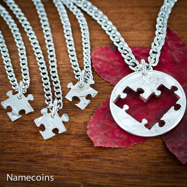 Love Hands Relation Set - 4 Piece Puzzle Heart Necklaces, Family Jewelry