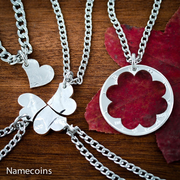 Love Hands Relation Set - 5 Piece Heart Puzzle Necklaces, Family Jewelry