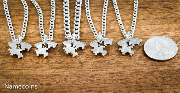 Love Hands Relation Set - 5 Puzzle Piece Family Necklaces, Hand Cut Coin