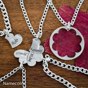 Love Hands Relation Set - Name Heart Necklaces, 5 Piece, Custom Engraved Names
