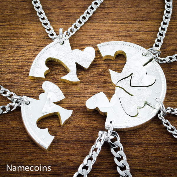 Love Hands Relation Set - Our Hearts Together, 5 Piece Friends And Family Necklace, Hand Cut Coin