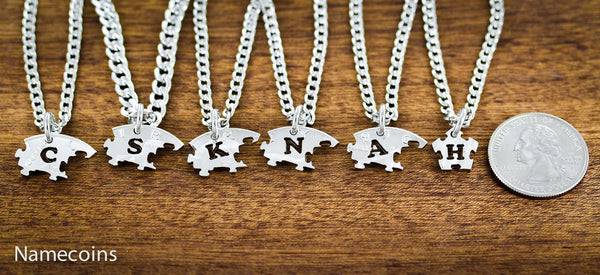 Love Hands Relation Set - Puzzle Piece Family Necklaces, 6 Piece, Hand Cut Half Dollar