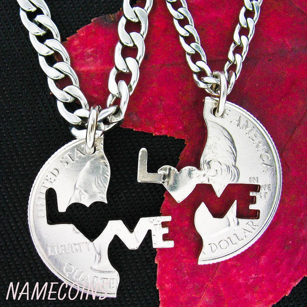Love Necklace, Interlocking Quarter, Hand Cut Coin