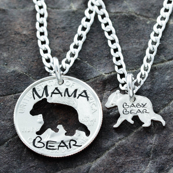 Mama and Baby Bear, Mother Child Necklaces, Inside out hand cut coin