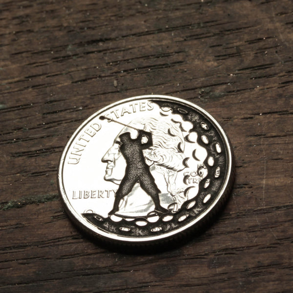 Golfing marker, Engraved coin for men by Namecoins